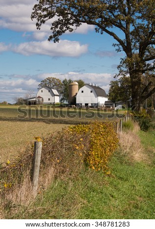 A nice view of a farm along a country road in Wisconsin on an Autumn day.