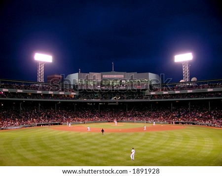 A night game in Fenway Park, Boston, MA. One of the oldest baseball parks, Fenway has to be experienced to be believed. - stock photo