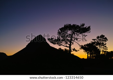 A night photo  of Lions Head, Cape Town, South Africa - stock photo