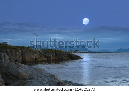 A night photo of moon and ocean, Norway - stock photo