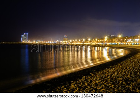 A night view at one shore in Barcelona - stock photo