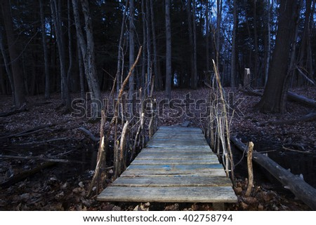 A night view of a footbridge across a brook leading to a dark forest in the Berkshire Mountains, of Western Massachusetts. - stock photo