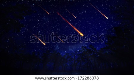 A night view of a meteor shower - stock photo