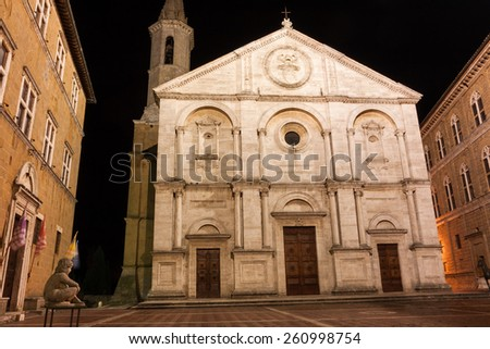 A night view of Pienza cathedral, near Siena, Tuscany, Italy - stock photo