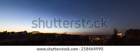 A night view of Rome landscape