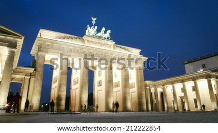 A night view of the Brandenburg Gate, Berlin, on a cold winters day.