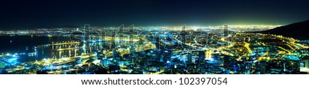 A night view of the city (Cape Town Panorama, South Africa) - stock photo
