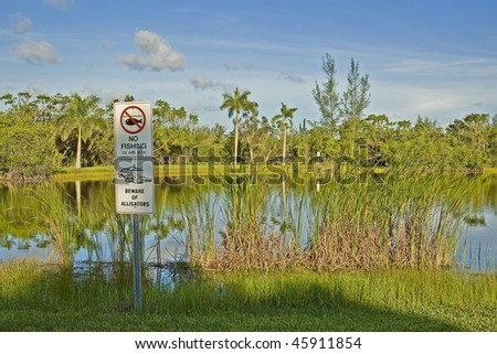 A no fishing and beware of alligators sign in a park lake in Miami,Florida