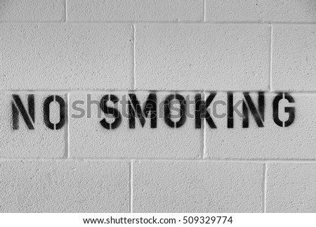 A No Smoking sign painted on a block wall.