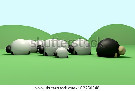A non-conformist depiction of a black sheep not following the general sheep herd - stock photo