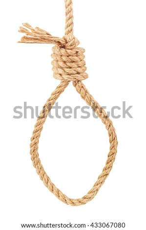 a noose of rope on white background - stock photo