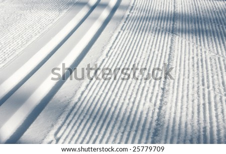 A nordic ski track set in the Callaghan Valley - stock photo