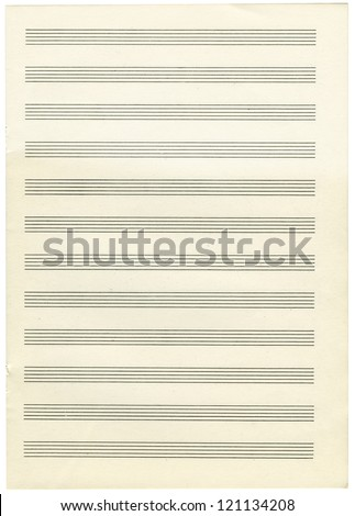 a note paper for musical notes isolated on a white background - stock photo