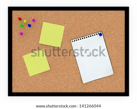 A noteboard made of cork with some pins and blank papers - stock photo