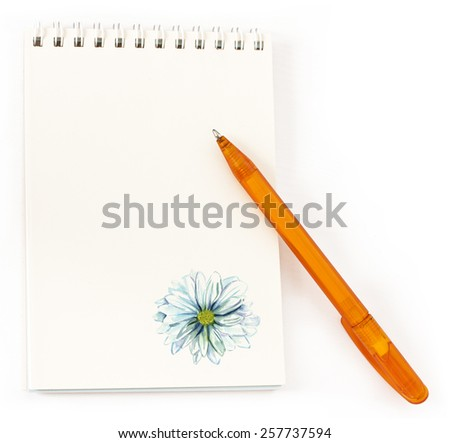 A notepad with a bright pen on a white background with a place for text - stock photo