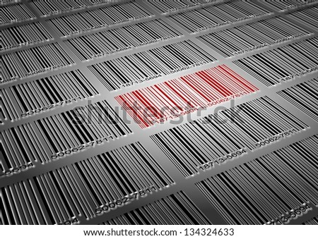 A number of black barcodes and a red barcode amongst them / Barcode sale