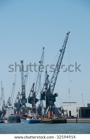 A number of cranes at the port of Rotterdam