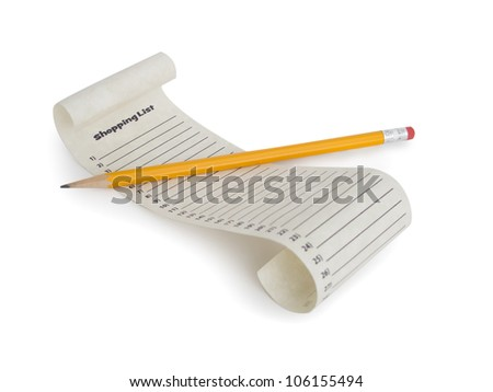 A numbered empty shopping list with a pencil. - stock photo