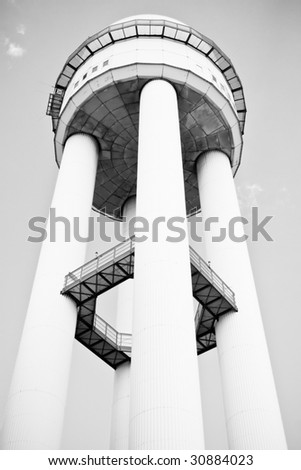 a old airport tower - stock photo