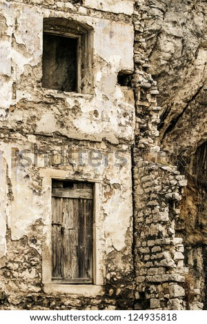 A old and abandoned building. - stock photo