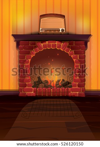 A old brick fireplace with fire, on its mantle is a old vintage radio set.