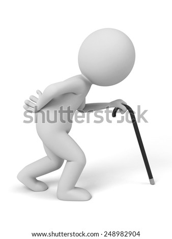 A old man walking with a stick. 3d image. Isolated white background.