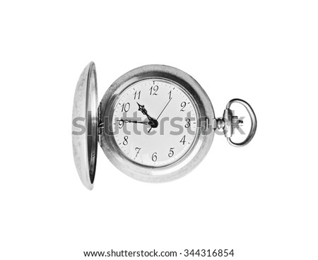 A old pocket watch isolated on absolutely white background. - stock photo