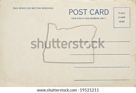 A old postcard with an Oregon map outline. Dirt and scratches at 100%. - stock photo