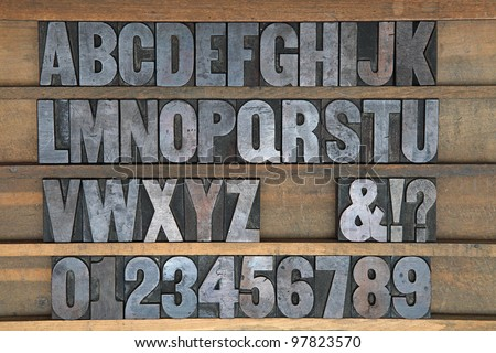 A old set of wooden printers type - stock photo