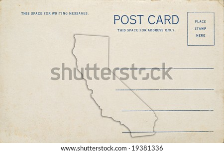 A old vintage blank postcard with the California map outline on the back.