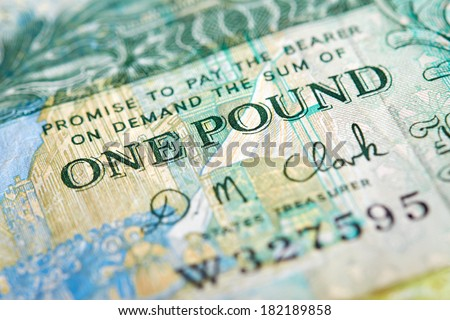 A one pound note from the Island of Jersey/Guernsey on a white background. - stock photo