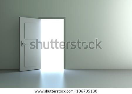 A open door in a empty room. 3D rendered illustration. - stock photo
