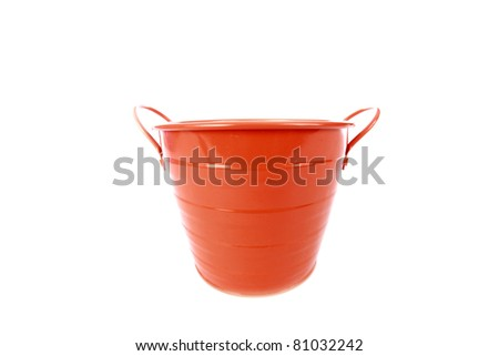 a orange galvanized metal bucket isolated on white with room for your text. - bucket, pail, water pail, galvanized metal, orange paint, decorative, plant pot, water can, garden tool, - stock photo