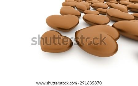 A orange heart isolated on white background - stock photo