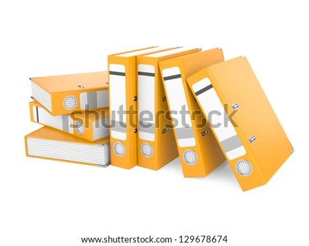 a orange ring binder isolated on a white background - stock photo
