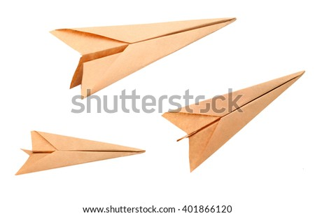A origami plane on departure - stock photo