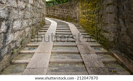 A outdoor staircase of ancient Monte Fort in Macau, China  - stock photo