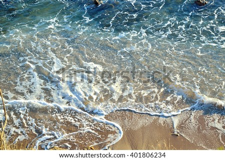 A overhead view on the seaside and the beach in Mediterranean Sea of the south. - stock photo