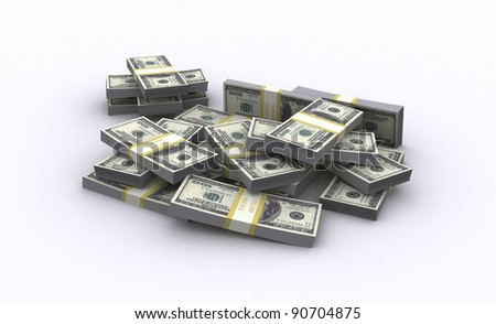 A pack of $100 bank notes isolated over white background - stock photo