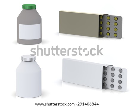 a pack with a plate of pills and a medicine bottle isolated on white background - stock photo