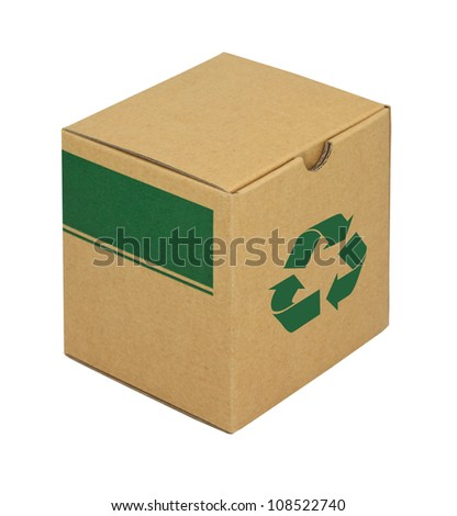 A packing box from recycling paper with recycle symbol - stock photo