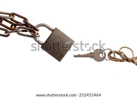 A padlock and a key, isolated on white. - stock photo