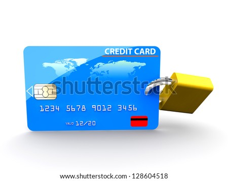 A padlock in a credit card: security concept - stock photo