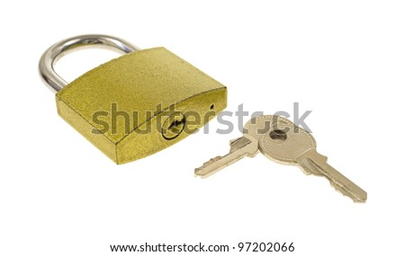 A padlock with two keys showing keyhole on a white background.