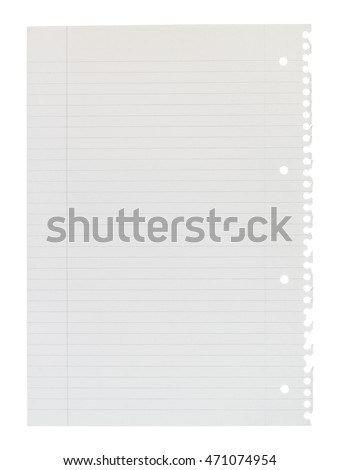 A4 page of notepaper torn from spiral bound lined notepad isolated against a white background.