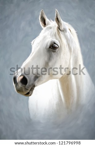 a painted portrait of a white horse