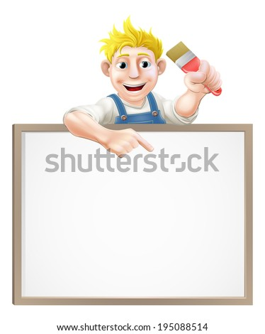 A painter or decorator holding a paintbrush and peeking over a sign and pointing - stock photo