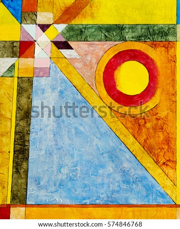 A Painting Geometric Abstraction With Warm And Cool Colors Concentric Circles On Highly