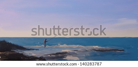 a painting of a fisherman on the rocks