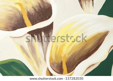 A painting of calla lilies on a canvas. - stock photo